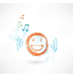 Music smile grunge icon vector