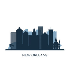 new orleans skyline monochrome silhouette vector image
