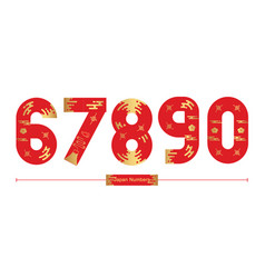 Numbers japan style in a set 67890 vector