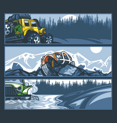 off-road vehicles in difficult situations banner vector image