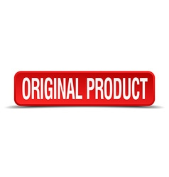 original product red 3d square button isolated on vector image