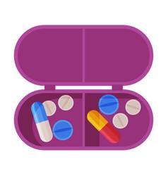 Pill box organizer pills and capsules in plastic vector