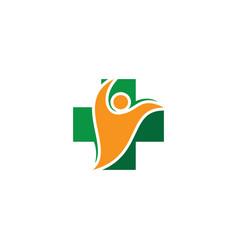 Plus people medical logo vector