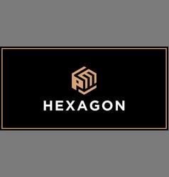 Pm hexagon logo design inspiration vector