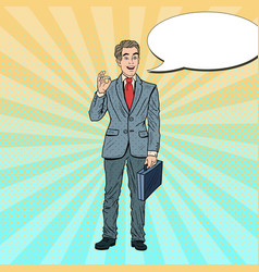 pop art smiling businessman gesturing ok vector image