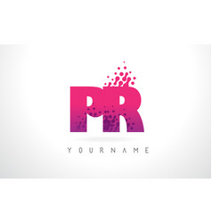 Pr p r letter logo with pink purple color and vector