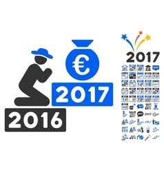 Pray For Euro 2017 Icon With 2017 Year Bonus vector image