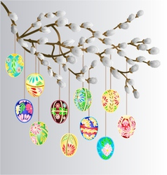 Pussy willow branch and multi colored easter eggs vector