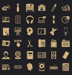 Record keeping icons set simple style vector