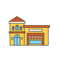 restaurant building line icon concept restaurant vector image