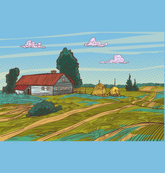 Rural landscape autumn field village houses vector