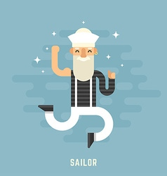 Sailor Concept Happy Male Cartoon Character vector
