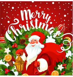 Santa with gift greeting card of christmas holiday vector