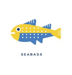 Seabass sea fish geometric flat style design vector