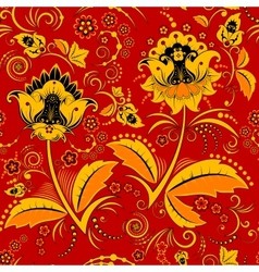 Seamless hohloma floral pattern vector image