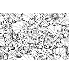 seamless ornamental black and white pattern vector image