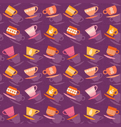 seamless pattern of retro tea cups vector image