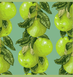 Seamless pattern witj citus fruit branch in green vector