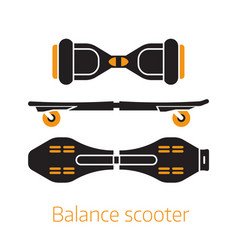 self balance hover board icons or logo vector image