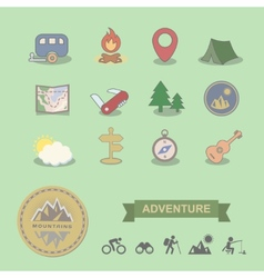set colored camping equipment symbols and icons vector image