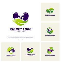 set of kidney with leaf logo design concept vector image
