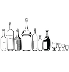 Set old bottles and wineglass vector