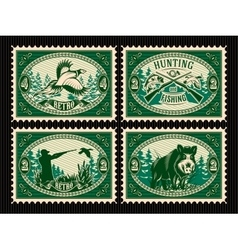 set template stamps with elements for hunting vector image