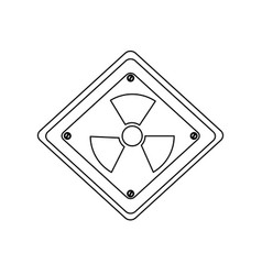 Silhouette metal emblem warning radiation sign vector