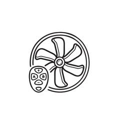smart fan hand drawn outline doodle icon vector image