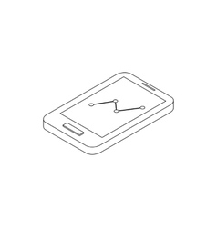 Smartphone with graph icon isometric 3d style vector