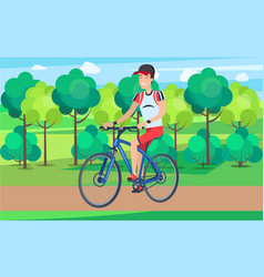 Smiling cyclist on blue bicycle vector