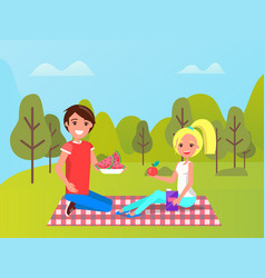 sporty people and healthy food in park vector image
