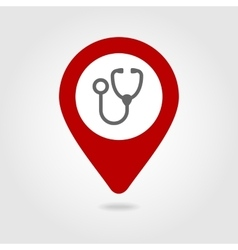 Stethoscope map pin icon vector