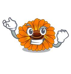 Successful calendula flowers in a cartoon basket vector