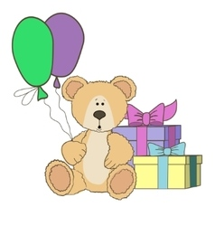 Teddy Bear with gift boxes and balloones vector image