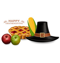 thanksgiving traditional hat and pie vector image