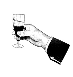 The hand holding glasses of champagne vector image