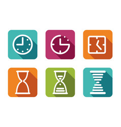 time and clock icons vector image