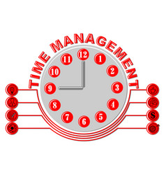 time management thema with glock face and business vector image
