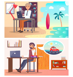 Tired men at work dream about travel abroad set vector