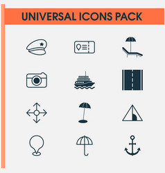travel icons set with camera beach police cap vector image