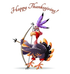 Turkey with bow thankgiving greeting card vector