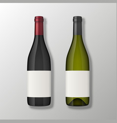 two realistic wine bottles in top view with vector image