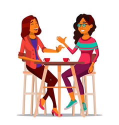 Two woman friends drinking coffee best vector