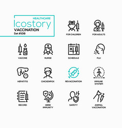 Vaccination - line design style icons set vector