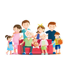 warm big family portrait with white background vector image