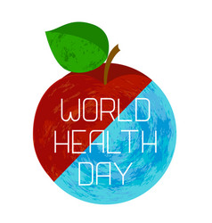 world health day earth and an apple vector image