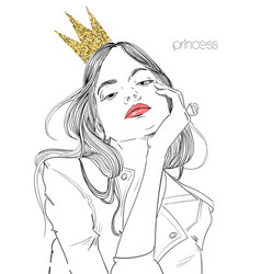 young beautiful woman with crown vector image