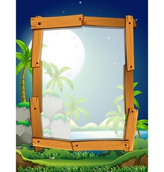 Border design with fullmoon night vector image