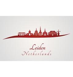 Leiden skyline in red vector image vector image